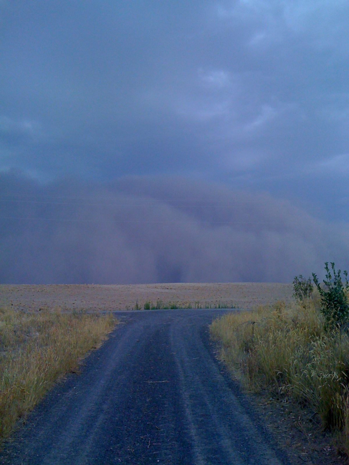 Incredible view of impending wall of dust from driveway